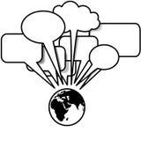 A terra fala bolhas do discurso dos tweets dos blogues Imagem de Stock