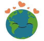 Terra felice nell'illustrazione di amore Immagine Stock