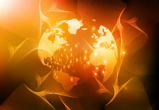 Terra & fibras ópticas Imagem de Stock Royalty Free