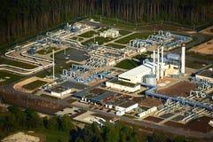 Terra firme do pipline de Nordstream Gazprom e KKW velho Lubmin Imagem de Stock