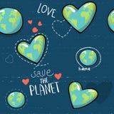 Terra a forma di del cuore Globo del fumetto le icone di web si inverdiscono il carattere felice della natura mappa di mondo del  illustrazione vettoriale