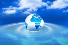 Terra generata Digital con luce blu Fotografie Stock