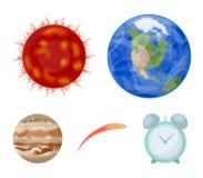 Terra, Giove, il Sun del pianeta del sistema solare Asteroide, meteorite I pianeti hanno messo le icone della raccolta nel fumett Immagine Stock