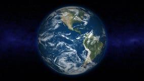 Terra girante con le nuvole evolventesi ed il tramonto (Lo illustrazione vettoriale