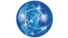 Terra, globo do mundo, negócio, uma comunicação, movimento ilustração do vetor