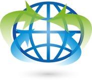Terra, globo, globo do mundo, setas, logotipo Imagem de Stock