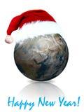 Terra in hubcap rosso di nuovo anno illustrazione vettoriale