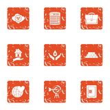Terra icons set, grunge style. Terra icons set. Grunge set of 9 terra vector icons for web isolated on white background Stock Photo