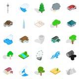 Terra icons set, isometric style Stock Image