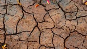 Terra incrinata di siccità del fondo di fotografia Fotografia Stock