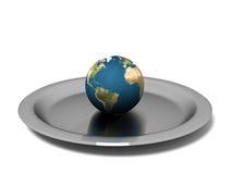 Terra isolata sulla zolla d'acciaio Fotografie Stock