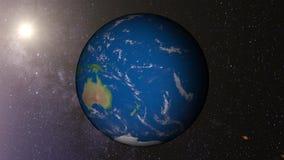 Terra 4k do planeta com laço do sol ilustração stock