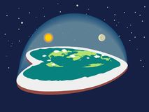 Terra lisa, na forma de um coração cercado pela Antártica O círculo antártico ilustração stock