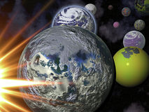 Terra, lua, Sun e mais planetas Imagens de Stock Royalty Free