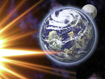 Terra, luna e Sun Fotografia Stock Libera da Diritti