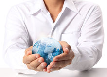 Terra in mano umana Fotografie Stock Libere da Diritti