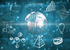 terra metallica 3D con il grafico tecnologico Immagine Stock Libera da Diritti