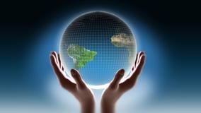 Terra in mie mani royalty illustrazione gratis
