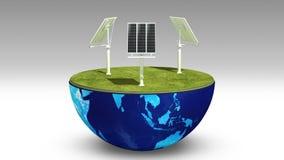 A terra muda o painel da energia solar, energia Eco-amigável video estoque