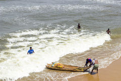 Terra não identificada dos pescadores Foto de Stock
