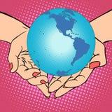 Terra nas mãos, América do planeta Imagens de Stock
