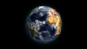 Terra nebulosa com conexões alaranjadas no movimento com a cortesia de imagem da terra da NASA org ilustração stock