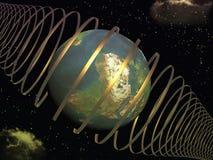 Terra nei raggi cosmici royalty illustrazione gratis