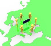 Terra nel piano della bandierina dell'europeo dell'oro Fotografie Stock Libere da Diritti