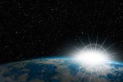 Terra nello spazio: alba illustrazione vettoriale