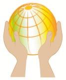 Terra no backgorund das mãos? criado no picosegundo? Foto de Stock