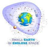 Terra no espa?o, nosso planeta no cosmos enorme cercado por meteorito, asteroides e estrelas Universo da ci?ncia dos desenhos ani ilustração royalty free