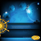 Terra no fundo do céu noturno com a roda e o compasso do ouro do navio Foto de Stock
