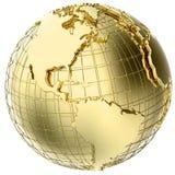 Terra no metal do ouro isolado no branco ilustração stock
