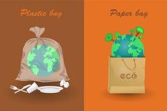 Terra no papel e nos sacos de plástico ilustração stock