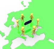 Terra no plano da bandeira do europeu do ouro Fotos de Stock Royalty Free