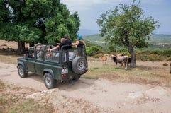 Terra Offroad Rover Defender 110 do carro fora fotos de stock