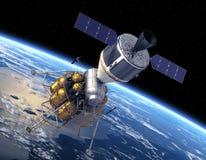 Terra orbitante del veicolo di esplorazione della squadra Fotografia Stock Libera da Diritti