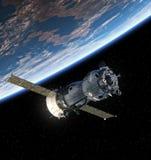 Terra orbitante del veicolo spaziale Fotografia Stock Libera da Diritti