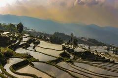 Terra?os do arroz de Yuanyang na noite imagens de stock royalty free