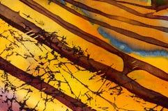 Terra?os do arroz, fragmento, batik quente, arte abstrata feito a m?o do surrealismo na seda ilustração do vetor