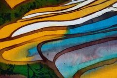Terra?os do arroz, fragmento, batik quente, arte abstrata feito a m?o do surrealismo na seda ilustração stock
