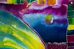 Terra?os do arroz, paisagem com montanhas, fragmento, batik quente, arte feito a m?o na seda ilustração stock
