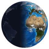 Terra Photorealistic. Dia e noite Fotos de Stock