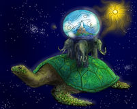 Terra piana antica nello spazio Immagine Stock