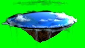 Terra piana con il paesaggio della natura, credenza antica in globo piano nella forma di disco, rappresentazione 3d royalty illustrazione gratis