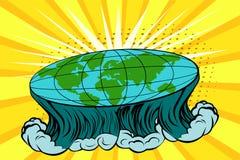 Terra piana con il paesaggio della natura Globo nella forma di disco Vector il fondo luminoso nel retro stile comico di Pop art Immagini Stock