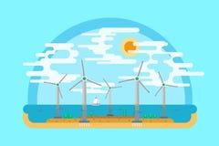 Terra piana di vettore del mare dei generatori eolici Fotografia Stock
