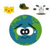 A terra preocupou-se sobre a ilustração do conceito da poluição e do desflorestamento Imagem de Stock Royalty Free
