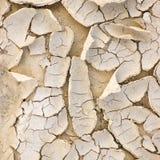 Terra rachada após a seca, grande close up macro detalhado, teste padrão bege da textura Foto de Stock