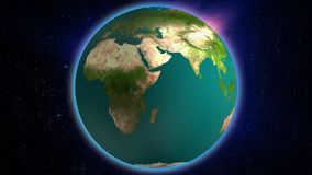 Terra realística que gerencie com a aura bonita que shinning no vídeo do universo HD Globo de Loopable Vídeo de movimento abstrat ilustração stock